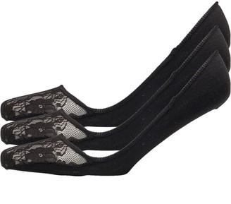 Jaeger Womens Three Pack Low Cut Footsies Lace Toe Black