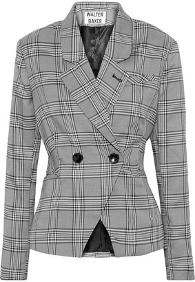 Walter Baker Double-breasted Prince Of Wales Checked Woven Blazer
