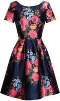 *Chi Chi London Blue Floral Print Midi Skater Dress