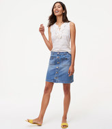 LOFT Petite Button Down Denim Skirt