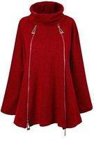 Buckdirect Worldwide Ltd. Women Zipper Turtleneck Long Sleeve Solid Loose Sweater