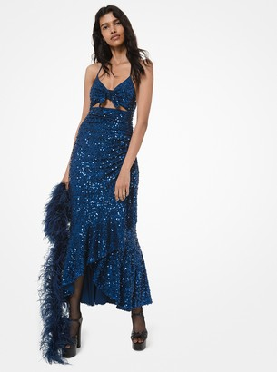 Michael Kors Collection Sequined Stretch Matte-Jersey Cutout Halter Dress