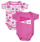 NFL Dallas Cowboys Baby Girls' 2 Pack Bodysuit Set - Pink