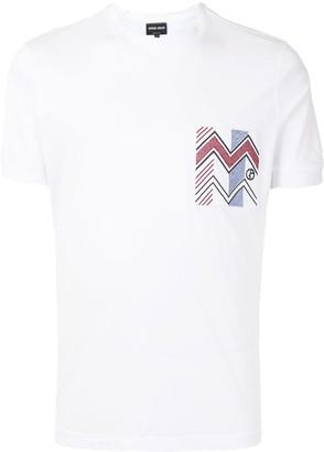 Giorgio Armani chevron print-pocket T-shirt