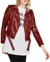 WeHeart HDY Women Dark PU Short Biker Jacket Metal Zipper Bomber Jacket -M