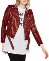 WeHeart HDY Women Dark PU Short Biker Jacket Metal Zipper Bomber Jacket -S