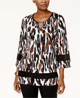 JM Collection Cheetah-Print Chiffon-Trimmed Keyhole Blouse
