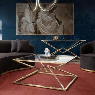 Diamond Sofa Aria Frame Coffee Table Table Base Color: Polished Gold