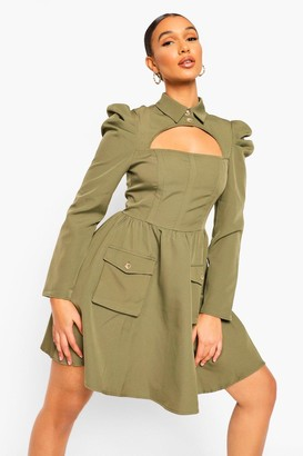 boohoo High Neck Cut Puff Sleeve Skater Dress