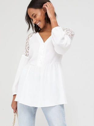 Very Lace Shoulder Button Through Peplum Blouse - White