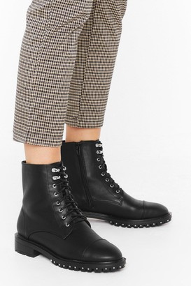 Nasty Gal Womens Faux Leather Biker Boots with High Ankles - Black