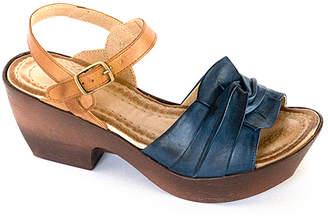 Jafa JAFA Women's Sandals Navy/Camel - Navy Camel Floral-Knot Wedge Sandal - Women