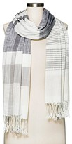 Merona Women's Gray and White Oversized Stripe Scarf