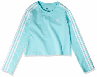 adidas Girl's 3-Stripes Crop Long Sleeve Clear Aqua/White X-Large