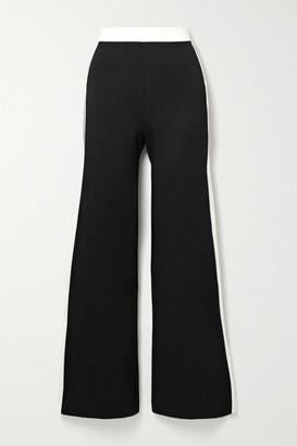 STAUD Milo Striped Stretch-ponte Flared Pants - Black