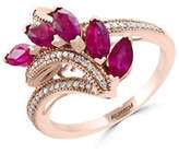 Effy Natural Ruby and 0.14 TCW Diamonds 14K Rose Gold Ring