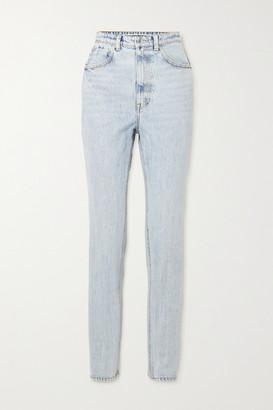 Alexander Wang Satin-trimmed High-rise Tapered Jeans - Light denim