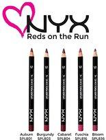 NYX Lip Liner Reds On The Run Set of 5: 801 AUBURN, 803 BURGUNDY, 804 CABARET, 816 FUSCHIA, 836 BLOOM