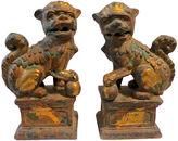 One Kings Lane Vintage Heavy Cast Iron Foo Dogs, Pair