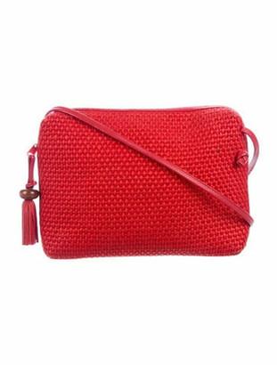 Bottega Veneta Vintage Leather-Trimmed Raffia Crossbody Bag Red