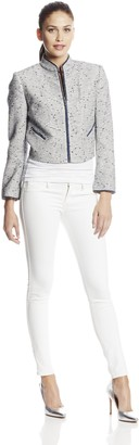 Magaschoni Women's Novelty Tweed Jacket with Organza Trim