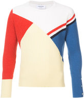 Thom Browne Crewneck Pullover With Red, White And Blue Stripe And Colorblocking In Cashmere