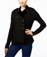 INC International Concepts Velvet-Trim Military Cardigan, Only at Macy's
