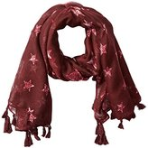 D&Y Women's Distressed Vintage Star Americana Scarf with Tassel Trim