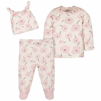 Gerber Baby Girl Take Me Home Shirt, Footed Pants & Cap, 3-Piece Outfit Set