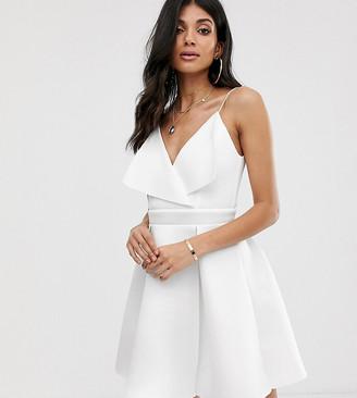 Asos Tall DESIGN Tall fold front skater mini dress-White