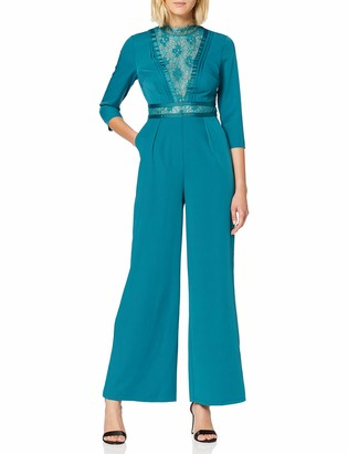 Little Mistress Women's Anja Kingfisher Lace-Trim Jumpsuit Turquoise (Blue 001) (Size:14)