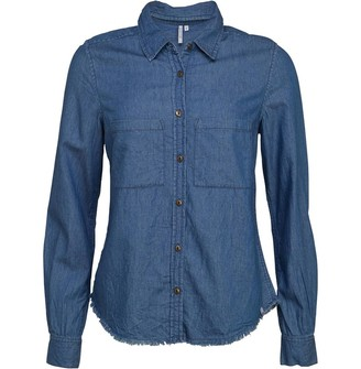 Animal Womens Worker Long Sleeve Shirt Chambray Blue