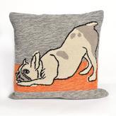 """Liora Manne Frontporch Yoga Dog 18"""" Pillow - Heather"""