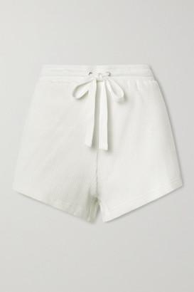 The Upside Ezi Ribbed Cotton-jersey Shorts - White