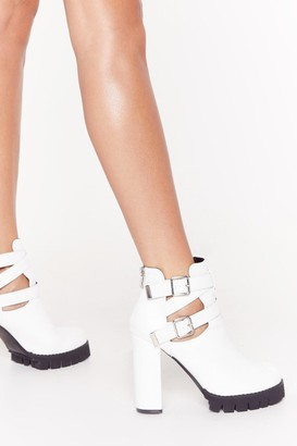 Nasty Gal Womens Cut-Out of Reach Faux Leather Platform Heels - white - 4