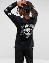 Stussy Long Sleeve T-shirt With Stock World Back Print In Black
