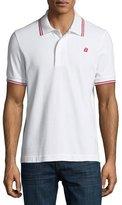 Bally Striped Cotton Pique Polo Shirt, White