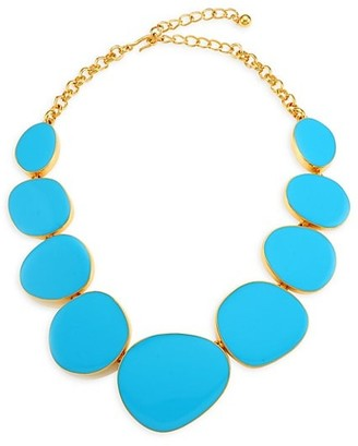 Kenneth Jay Lane 22K Goldplated & Turquoise Enamel Stone Necklace