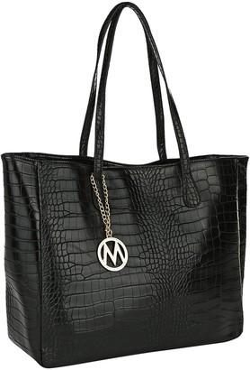 Mkf Collection By Mia K. MKF Collection by Mia K. Women's Handbags Black - Black Croc-Embossed Tote
