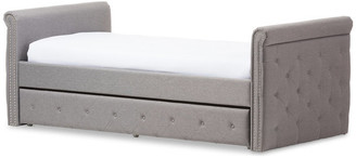 Baxton Studio Swamson Fabric Tufted Twin Size Daybed With Roll-Out Trundle, Gray