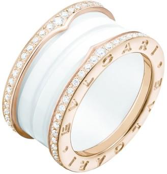 Bvlgari Rose Gold and Diamond Four-Band B.Zero1 Ring
