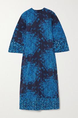 Valentino Floral-print Crepe Maxi Dress - Navy