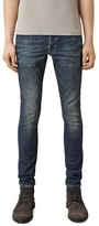 AllSaints Stamp Cigarette Slim Fit Jeans in Indigo Blue