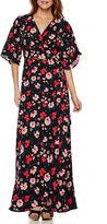 I (heart) Ronson I Heart Ronson Lily Black Romance Short-Sleeve Maxi Dress