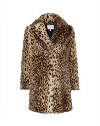 Dorothy Perkins Womens Petite Animal Print Long Lined Faux Fur Coat