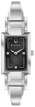 Bulova Women's Diamond-Accent Stainless Steel Bangle Bracelet Watch 18x33mm