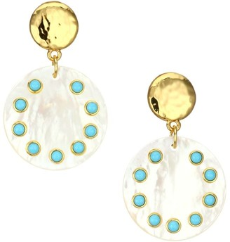 Nest Turquoise -Studded Mother-Of-Pearl Drop Earrings