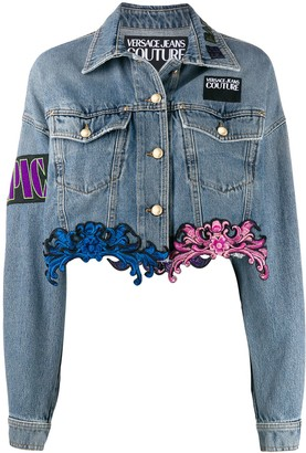 Versace lace hem denim jacket