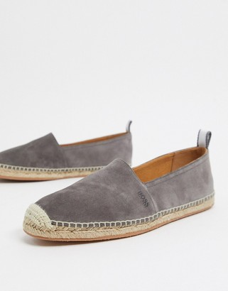 HUGO BOSS Madeira Slon suede espradrille in grey