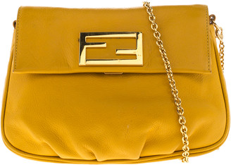 Fendi Yellow Leather Fendista Chain Shoulder Bag